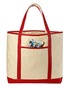 Canvas Tote Beach Bag - These Large Bags Are Strong Enough to Carry Beach Gear and Wet Towels. Front Pocket, Inside Zippered Pocket and Shoulder Straps for Easy Carrying. (Red | 22 x 16 Inches)