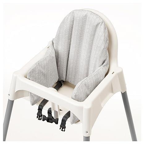 Ikea - Trona antigoteo con bandeja, cinturón de seguridad, color blanco, color plateado y trona blanca completa con cojín de IKEA