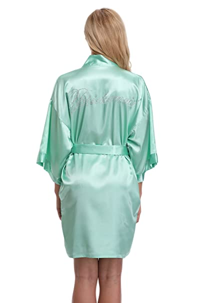 KimonoArt Satin Rhinestone Short Kimono Robe for Bridesmaid Aquamarine XS 11aadeebe