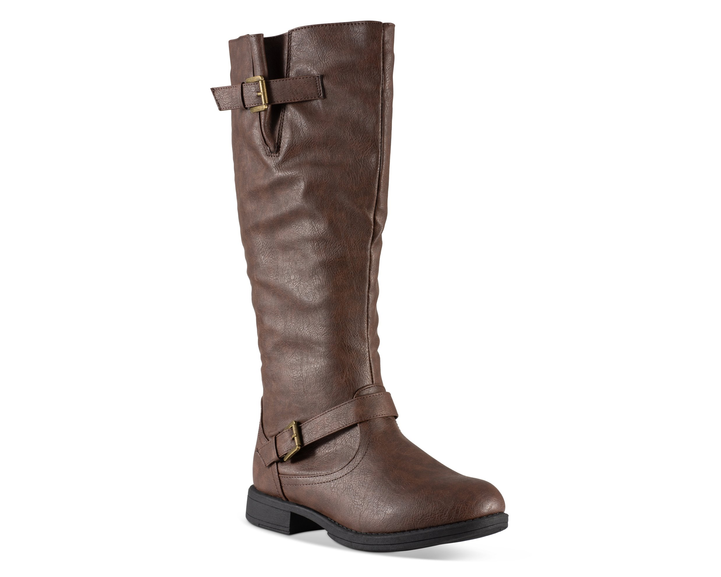 Twisted Women's Amira Wide Calf Knee-High Riding Boot- AMIRA01P LT Brown, Size 8