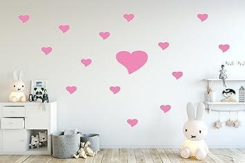 tjapalo® pkh1-24-rosa Wandtattoo Herzen Wandtattoo Kinderzimmer ...