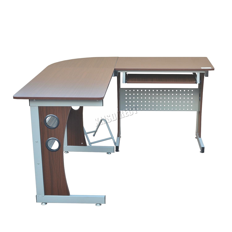 Foxhunter Morden l-shape computer scrivania angolare con ripiano per tastiera e tavolo da studio PC workstation Gaming Furniture grande CD11/noce scuro