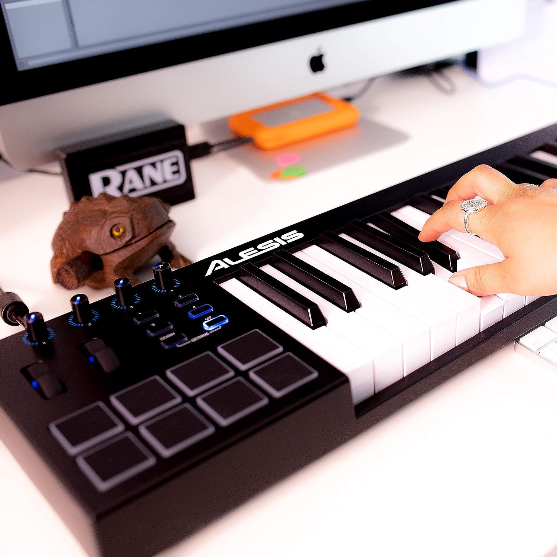 Alesis V49 - Teclado controlador USB-MIDI de 49 teclas con 8 pads sensibles retroiluminadas, 4 potenciómetros y botones asignables, y un paquete de ...