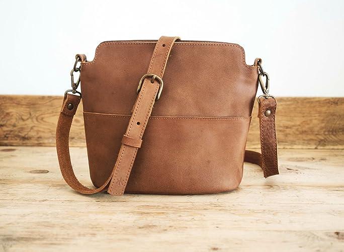 f8bcbd32bfa Amazon.com  Cowhide LEATHER bag    Handmade leather bag    Brown ...