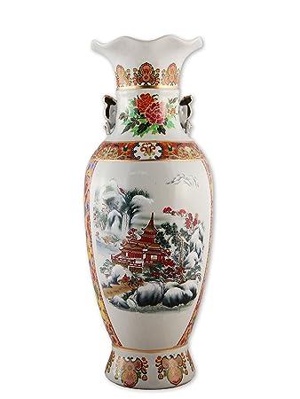 Amazon De Grosse Chinesische Vase Vintage Bodenvase Xl Porzellan