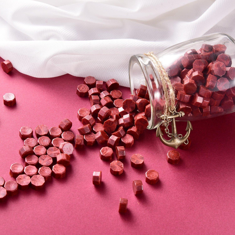Weinrot 230 St/ücke Siegellack Perlen Stempel Dichtung Stick Zubeh/ör mit 2 St/ücke Kerzen und 1 St/ück Schmelzl/öffel f/ür Stempel Versiegelung