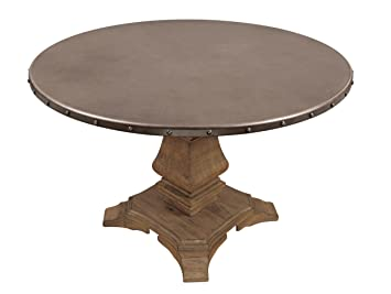 Homelegance Anna Claire Round Table With Pedestal Base And Nail Head Accent  Banding, Rusticated Zinc