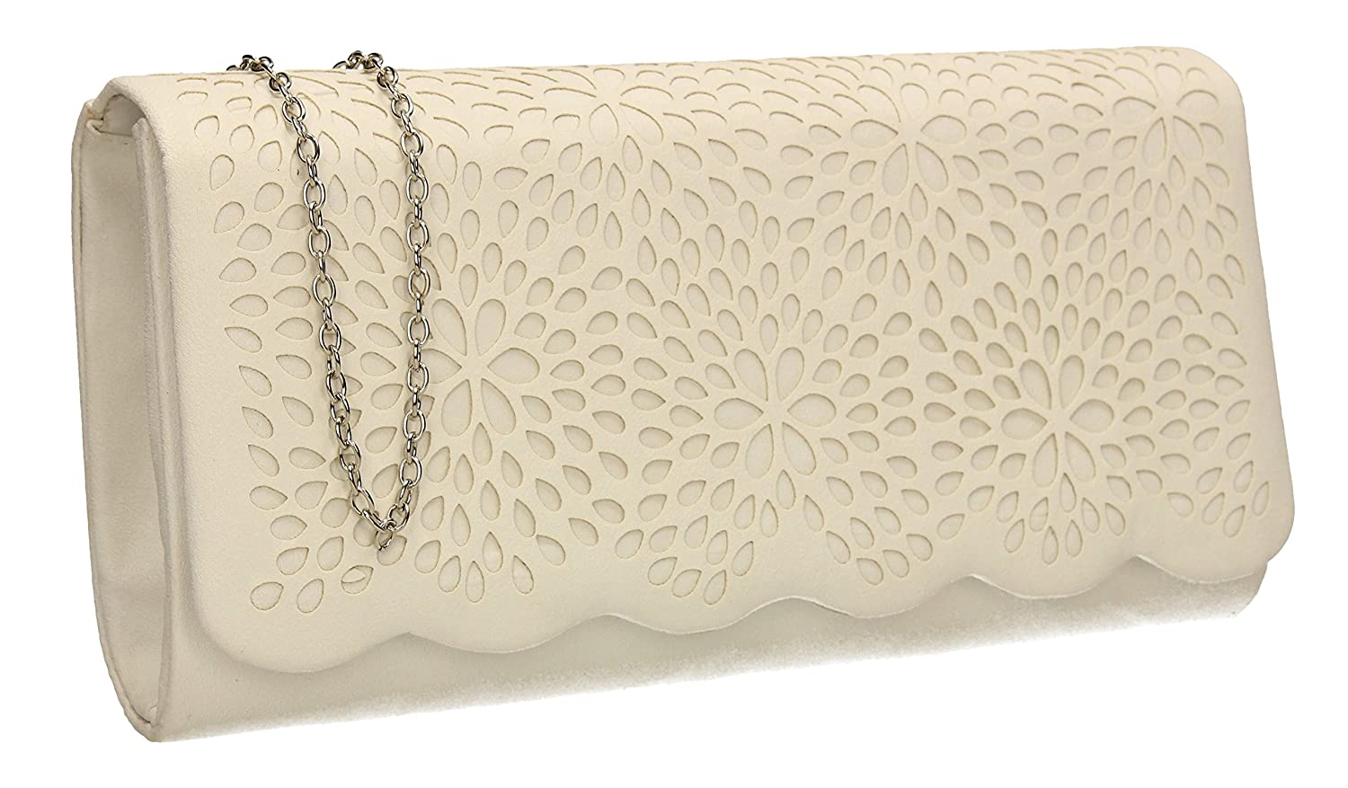 a0f72ff6f9 Lovely suede leather flapover clutch bag with beautiful micro petal laser  cut out detail. Comes with button closure. Perfect for understated classic  style.