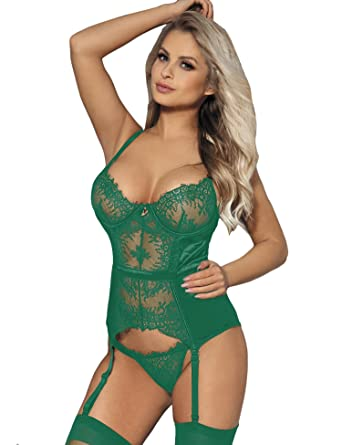 dbb496fa31 ohyeahlady Women Plus Size Sheer Lace Satin Bodysuit Lingerie with Garter One  Piece Corset Babydoll  Amazon.co.uk  Clothing