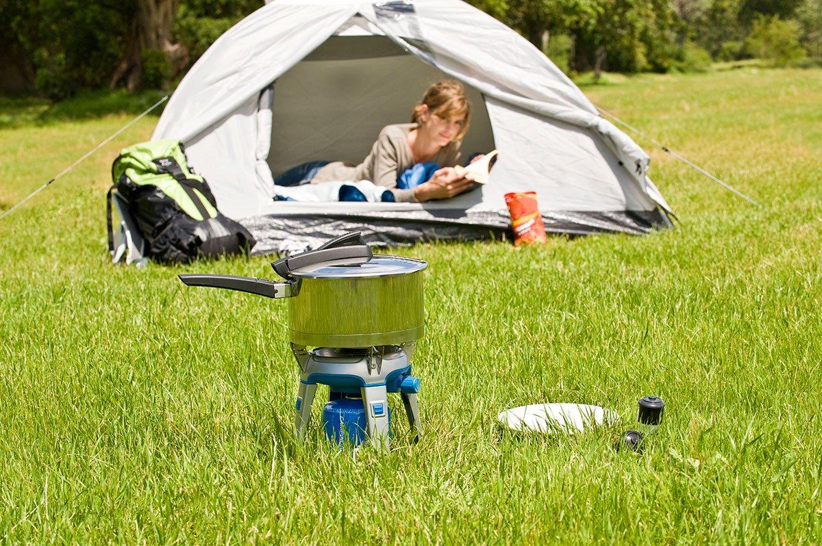 Hornillo para acampada y viaje Modelo Bivouac marca campinga con bolsa para el transporte - Sellador de funda para el transporte + 2 cartuchos a gas de 240 ...