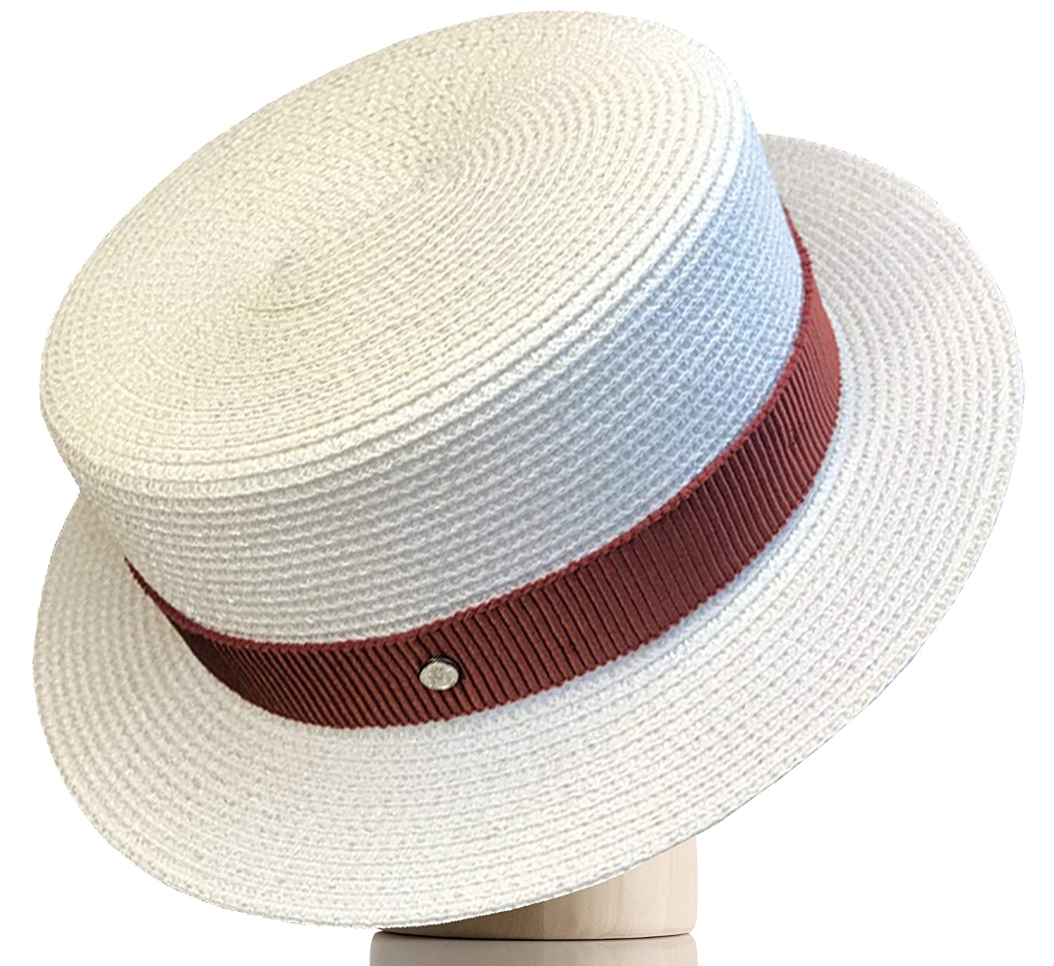 Edwardian Hats, Titanic Hats, Tea Party Hats Melniko City Womens Straw Boater Hat Roaring 20s Retro Sunhat $22.98 AT vintagedancer.com