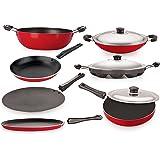 Nirlon Non-Stick Aluminium Cookware Set, 7-Pieces, Red