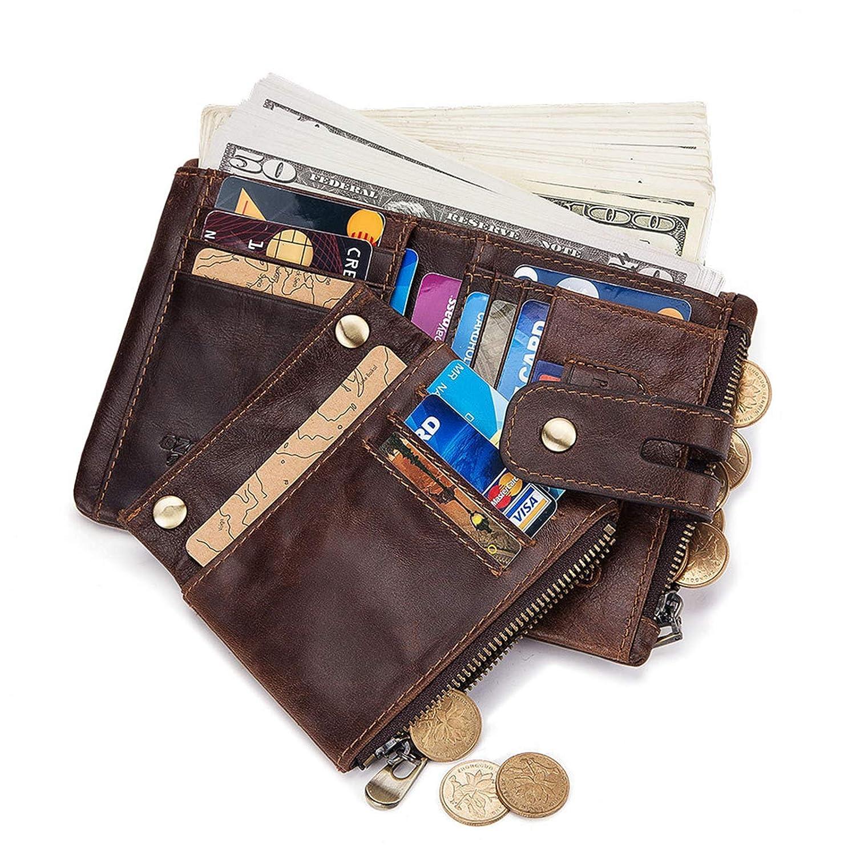 Big Capacity Pocket Wallet for Men Brown Gnzoe Leather Bifold Wallet