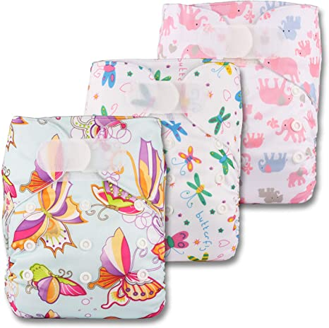 with 6 Bamboo Inserts Littles /& Bloomz Patterns 308 Fastener: Hook-Loop Set of 3 Reusable Pocket Cloth Nappy