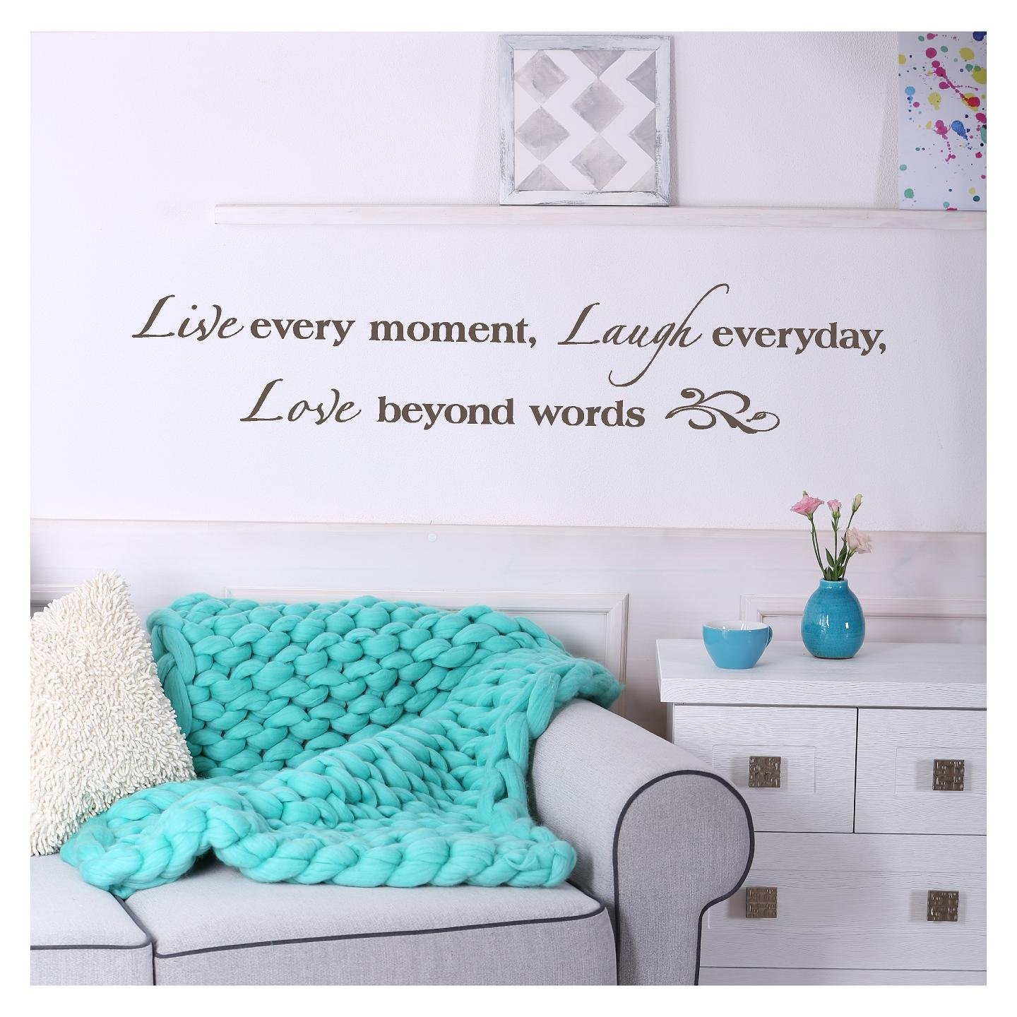 Live Every Moment, Laugh Everyday, Love Beyond Words Vinyl Lettering Wall Decal Sticker (8''H x 40''L, Metallic Bronze)