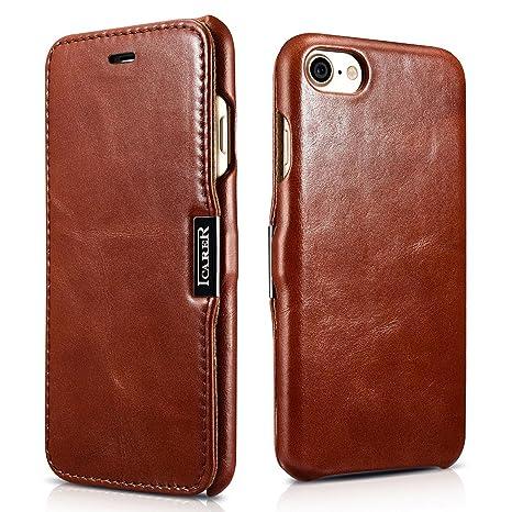 SLEO Funda iPhone 7/iPhone 8, Carcasa con Tapa Cuero Interior Ultra Slim Flip Folio ICARER Case para iPhone 7/iPhone 8 - Retro Marrón