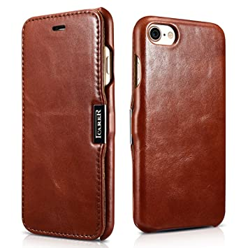 0a3369d692f SLEO Funda iPhone 7/iPhone 8, Carcasa con Tapa Cuero Interior Ultra Slim  Flip Folio ICARER Case para iPhone 7/iPhone 8 - Retro Marrón: Amazon.es:  Hogar