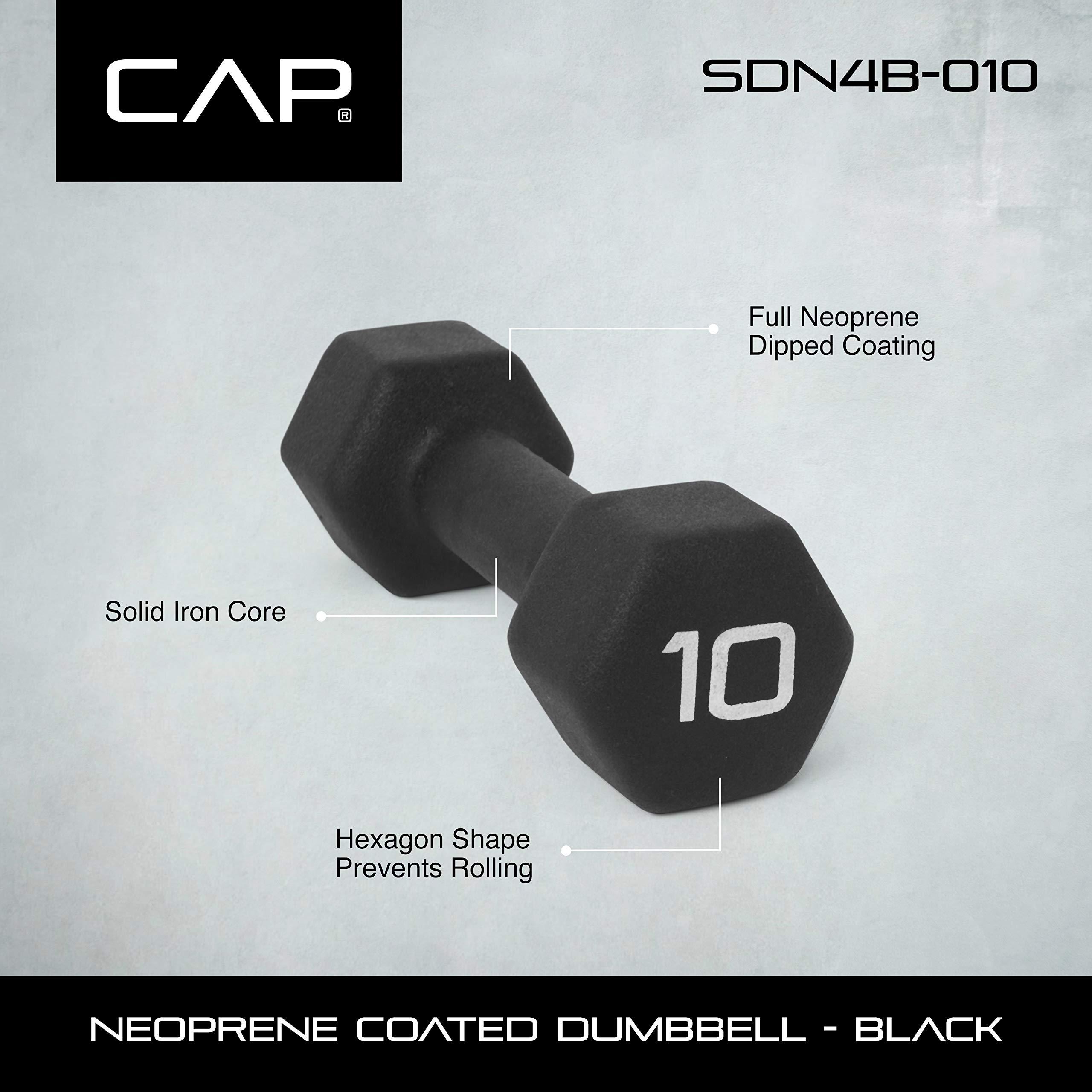 CAP Barbell Neoprene Coated Single Dumbbell, Black, 10-Pound by CAP Barbell (Image #2)