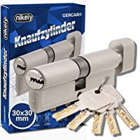 GERCAR Pro 60 mm knopcilinder 30/30 massieve cilinder met knop cilinderslot deurslot - van messing mat vernikkeld - incl…
