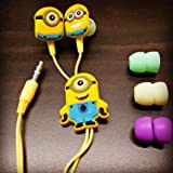 KRESTO MINIONS (MORE MINIONS.MORE DESPICABLE) In-Ear Earphone,Includes 3 Additional Earplug Covers - Great For Kids, Boys, Girls, Adults, Gifts Stereo Dynamic Wired Headphones.