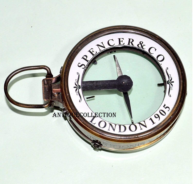 antiquecollection真鍮コンパスSpencer &コンパスアンティークヴィンテージマップリーダー虫眼鏡   B07C9BPYC6