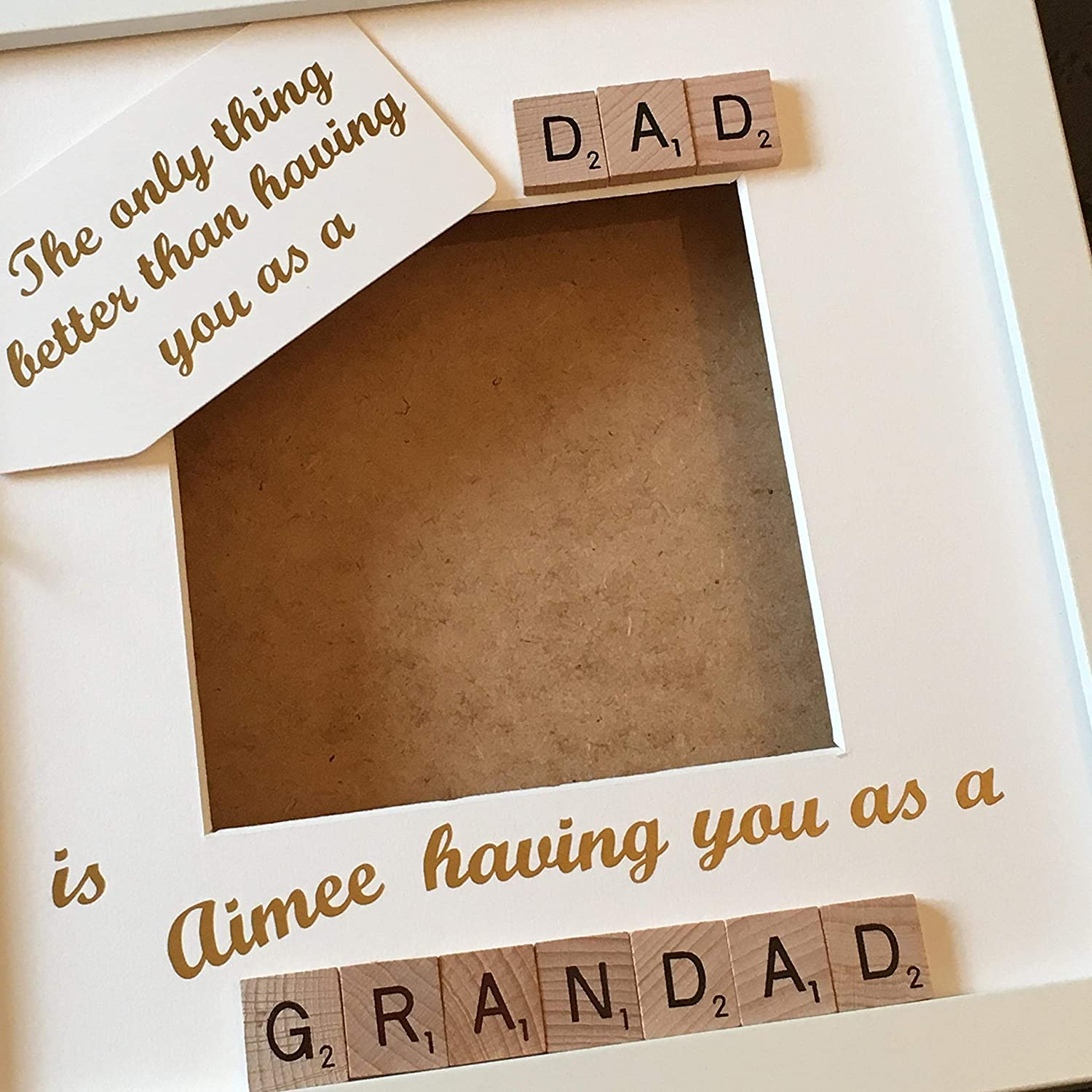 Created by CleverCHIC Grandad Dad Scrabble Art Personalised Photo Frame 9x9