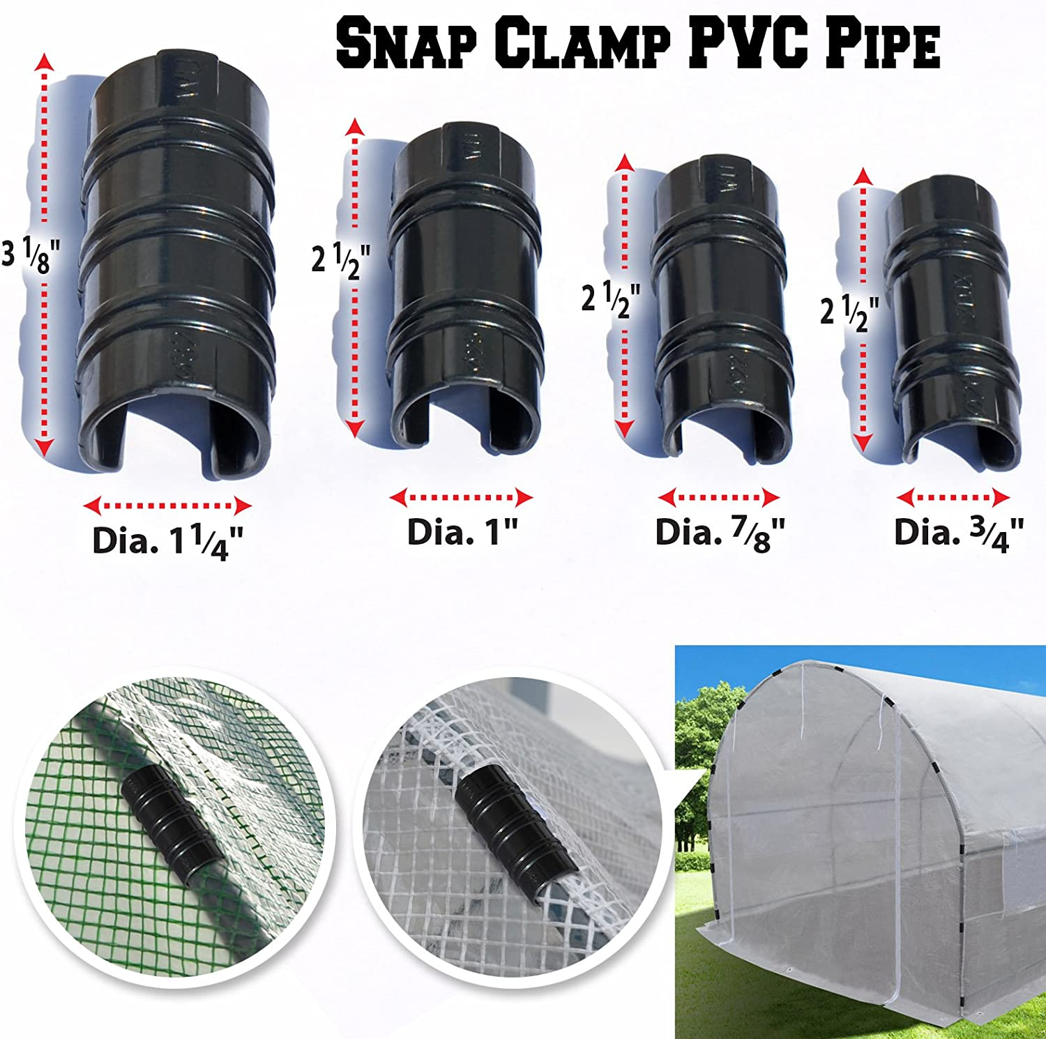 3//4/'/',7//8/'/',1/'/',1-1//4/'/' Snap Clamp for PVC Pipe Greenhouse Banner Frame Shelters