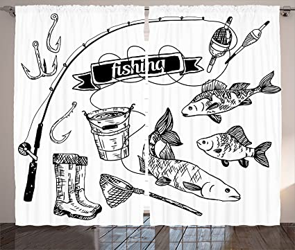 Pesca Decor cortinas de hechos a mano de herramientas de pesca con caña, salmón,