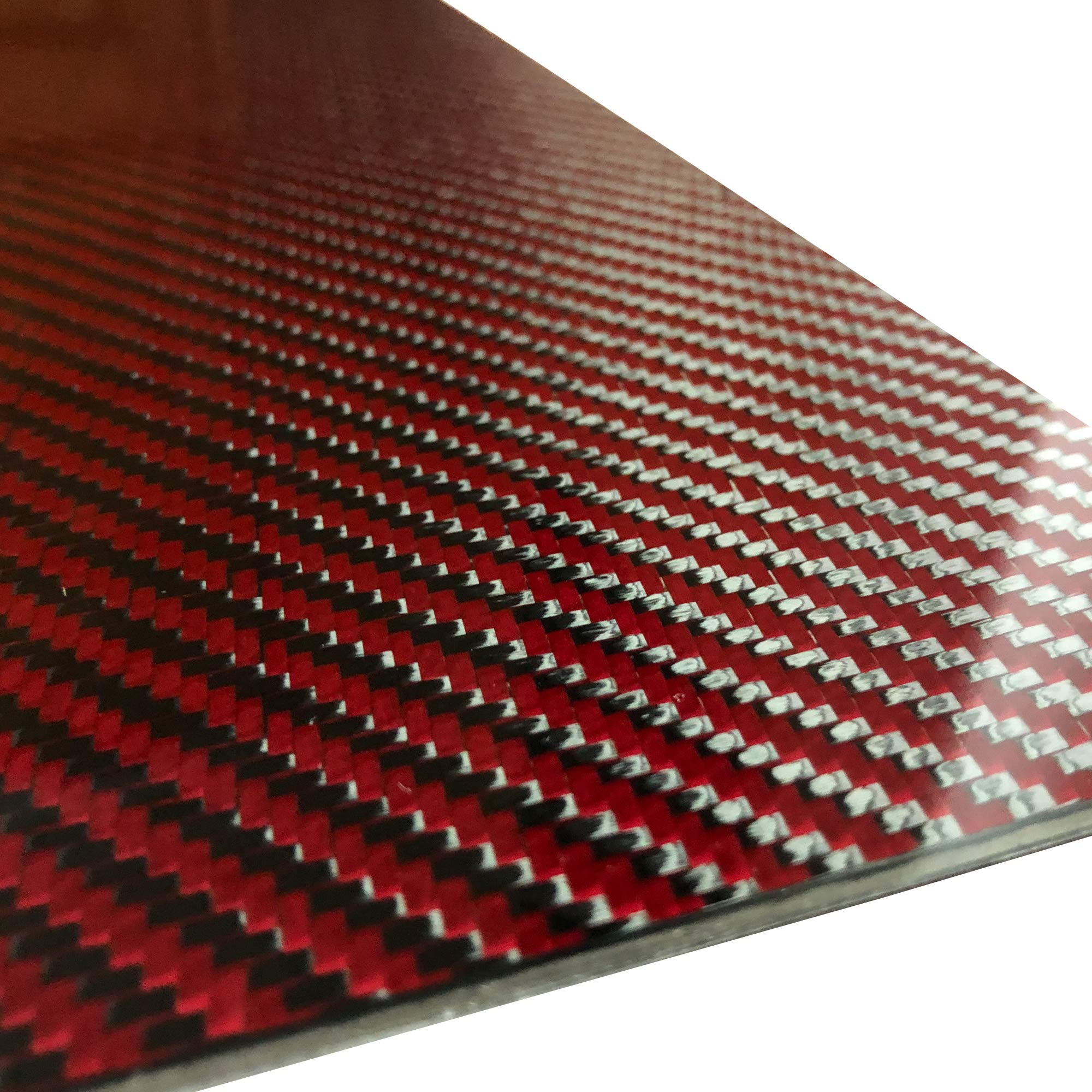 (2) Red Carbon Fiber Plate - 200mm x 300mm x 2mm Thick - 100% -3K Tow, Plain Weave -High Gloss Surface by Carbon Kevlar Supply