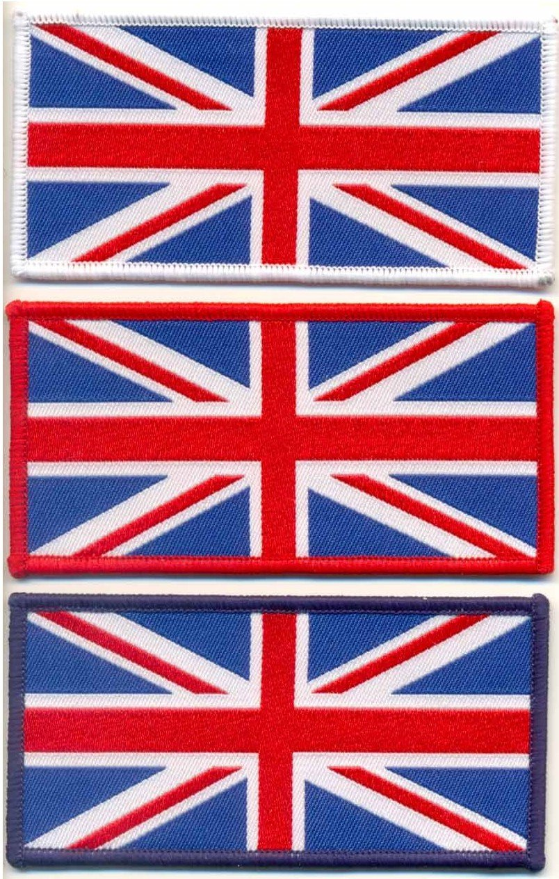 Woven Union Jack Sew On Patch Large - White Speedwear
