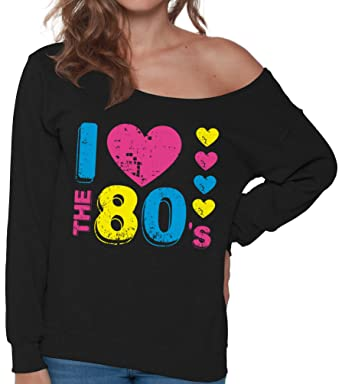 1e5d64cc58b303 Pekatees Women s I Love The 80 s Oversized Off The Shoulder Tops Sweatshirt  80s Disco Party Perfect