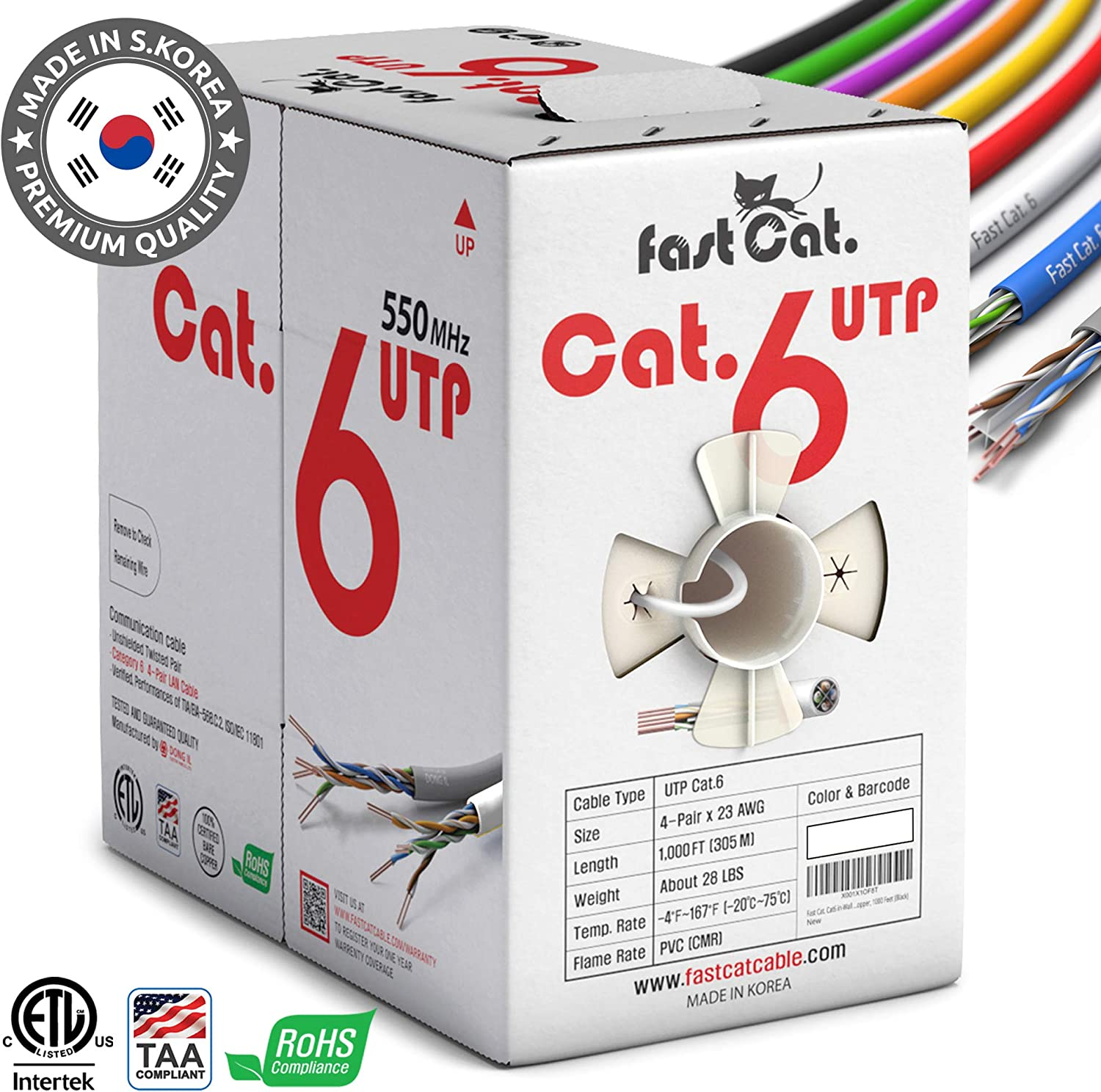 fast Cat. Cat6 Ethernet Cable 1000ft - Insulated Bare Copper Wire Internet Cable with Noise Reducing Cross Separator - 550MHZ / 10 Gigabit Speed UTP LAN Cable 1000 ft - CMR (White)