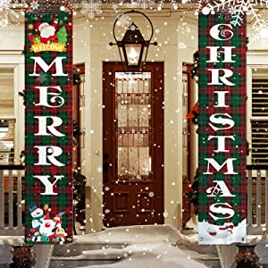 FSFLAG Christmas Front Porch Decor - Christmas Welcome Sign for Outdoor Indoor - Christmas Decorations for Home Wall Door Holiday Party (Merry Christmas)