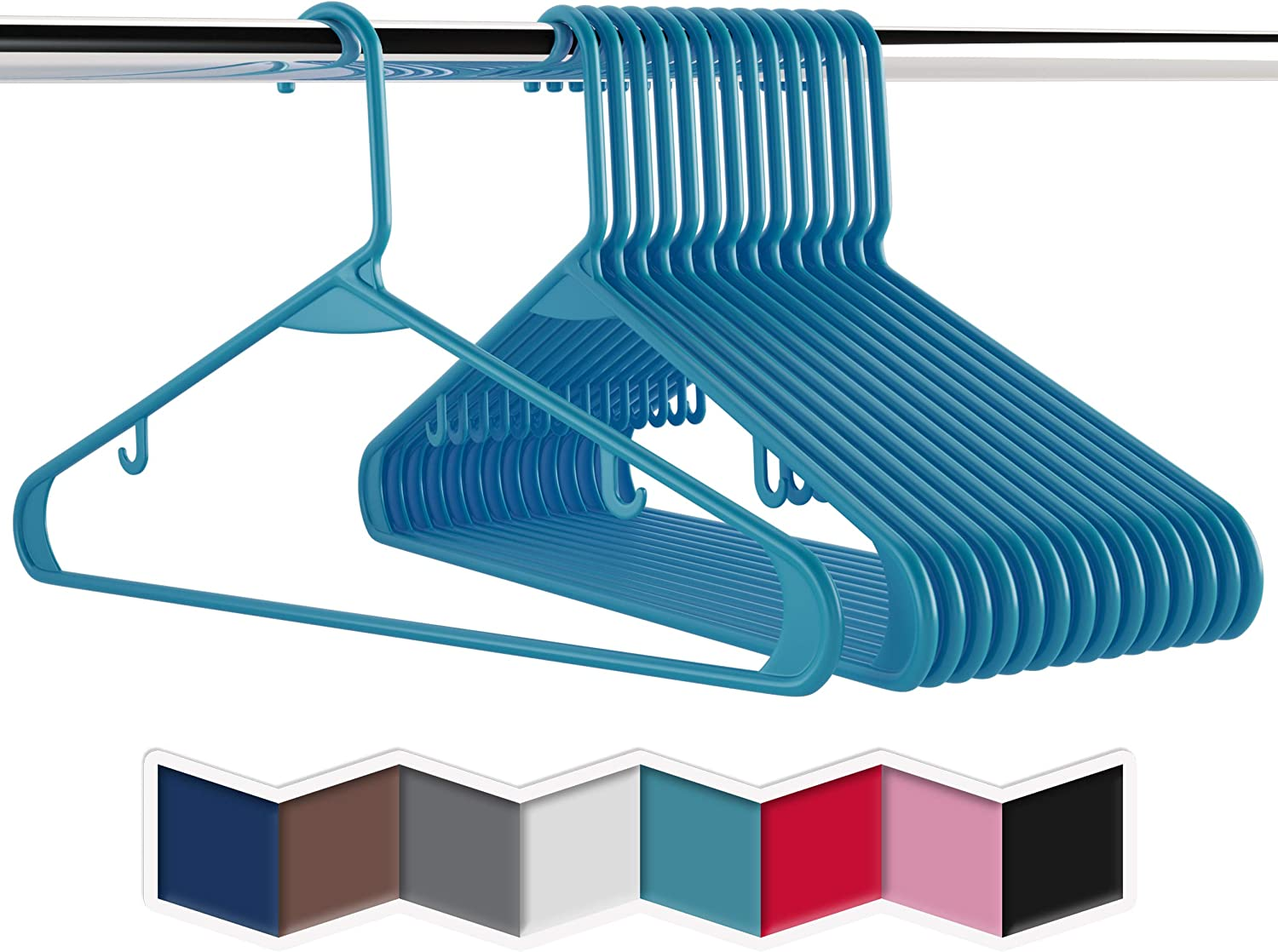 Plastic Clothes Hangers (20, 40, & 60 Packs) Heavy Duty Durable Coat and Clothes Hangers | Vibrant Colors Adult Hangers | Lightweight Space Saving Laundry Hangers (20 Pack - Blue)