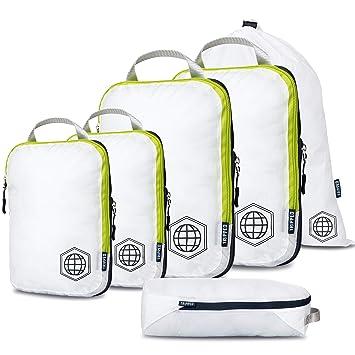TRIPPED Travel Gear Compresión Embalaje Cubos 6 Piece Set Carryon Equipaje Resistente Ligero Viajes Organizador Bolsas con Cremallera Doble (Blanco y ...
