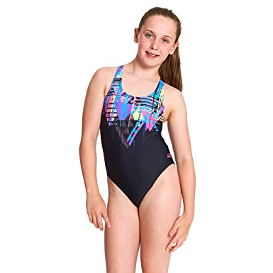 098585a1a34 Zoggs Girls' Labrynth Rowleeback One Piece Swimsuit, Black/Multi, Size 26 UK