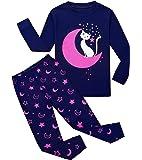 Qzrnly Girls Pajamas 100% Cotton Long Sleeve Pjs Toddlers Sleepwear Set Mermaid Pajama