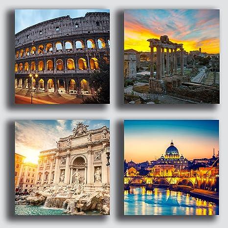 Quadri Moderni ROMA colosseo città 4 pezzi Stampa su Tela CANVAS ...