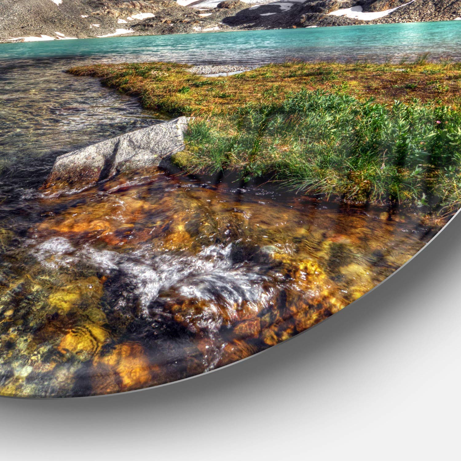 Designart Crystal Clear Creek in Mountains Wall Art Disc of 38 38x38-Disc of 38 inch Green