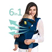 LÍLLÉbaby The COMPLETE All Seasons SIX-Position, 360° Ergonomic Baby & Child Carrier, Navy - Cotton Baby Carrier, Comfortable and Ergonomic, Multi-Position Carrying for Infants Babies Toddlers