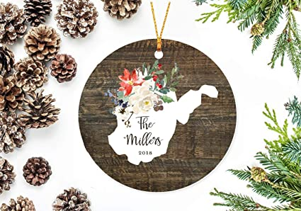 UTF4C Christmas Ornaments 2018, West Virginia State Christmas Decor with  Holiday Flowers - Amazon.com: UTF4C Christmas Ornaments 2018, West Virginia State