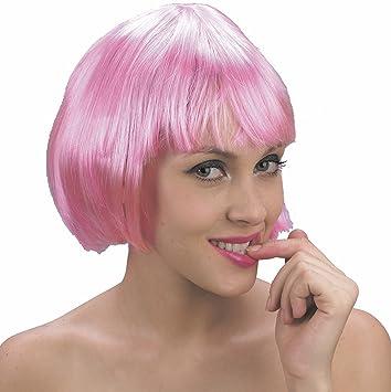 Peluca rosa corta para mujer
