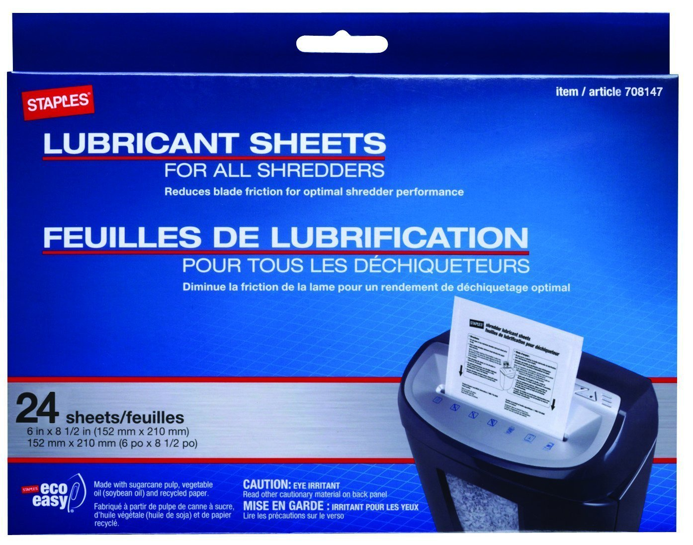 Staples Shredder Lubricant Lubricating Sheets 24/pk 36395