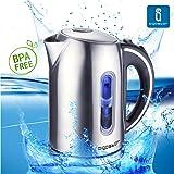 Aigostar King 30CEA – Hervidor de agua con iluminación led de 1,7 litros de capacidad, potencia de 2200 watios, libre de BPA y material de acero inoxidable pulido. Sistema de protección contra la ebullición en seco. Diseño exclusivo.