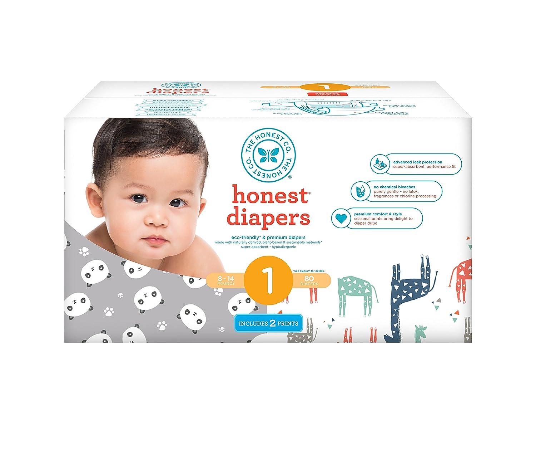 Honesto bebé pañales, Club caja, cartucho, blanco, multicolor, diseño de jirafas, tamaño 1, 80 Count: Amazon.es: Bebé