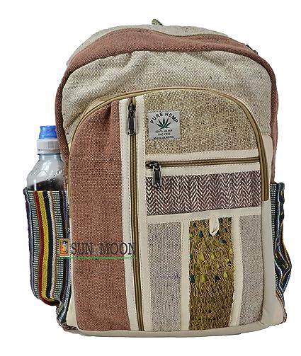 Negro y Blanco cáñamo lienzo mochila bolsa de la escuela – 100% Pure mochila de