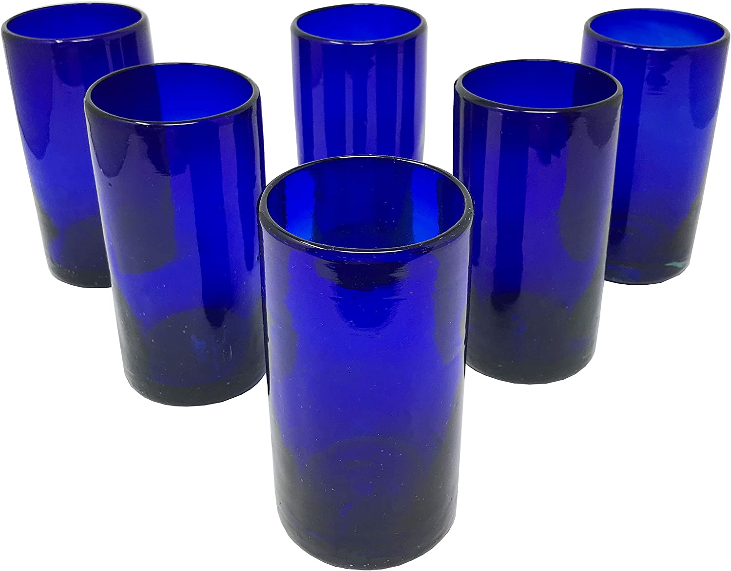 LA MEXICANA Mexican Hand Blown Drinking Glasses Cobalt Blue Recycled Glass, 16 oz. (set of 6), Blue Style