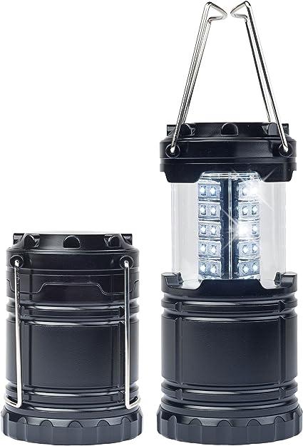 Meliana MA-4010 Lot de 2 Lampes de Camping à LED Extensibles avec poignées en métal Robustes et Peu encombrantes