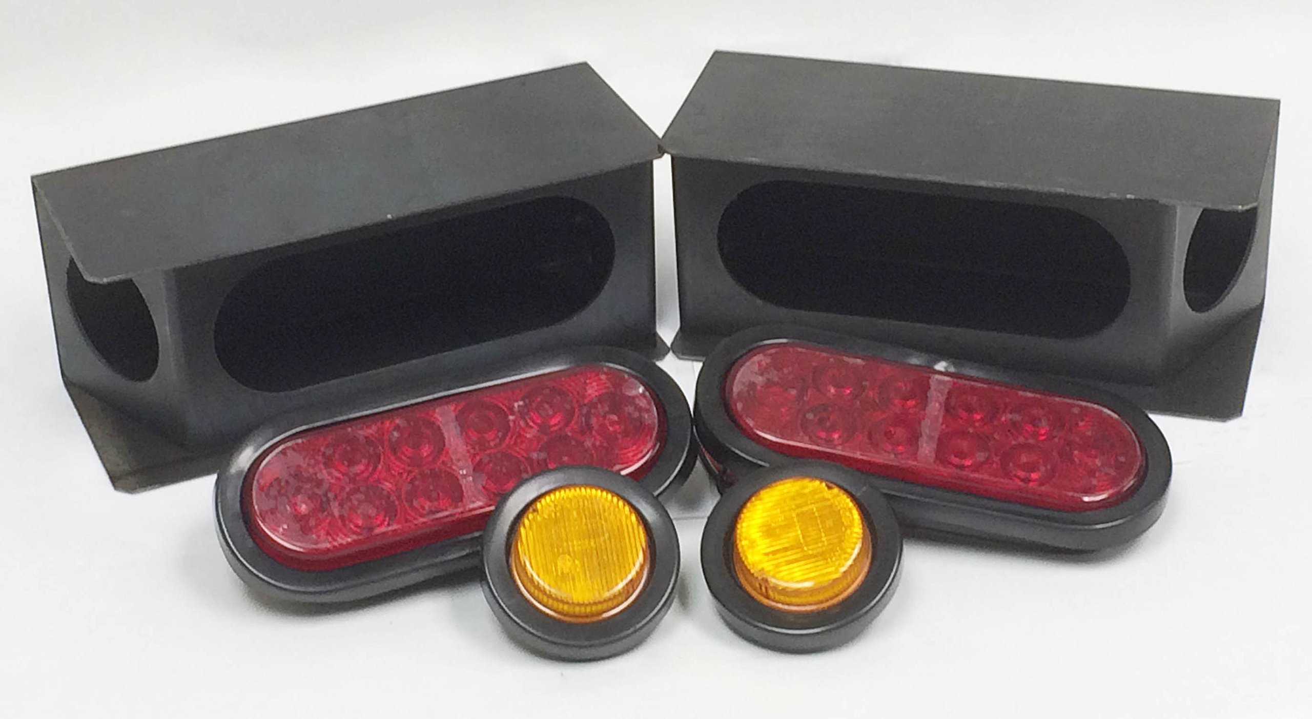 2 Steel Trailer Angled Light Boxes w/ 6'' Red Oval & 2'' Round Amber LED Lights