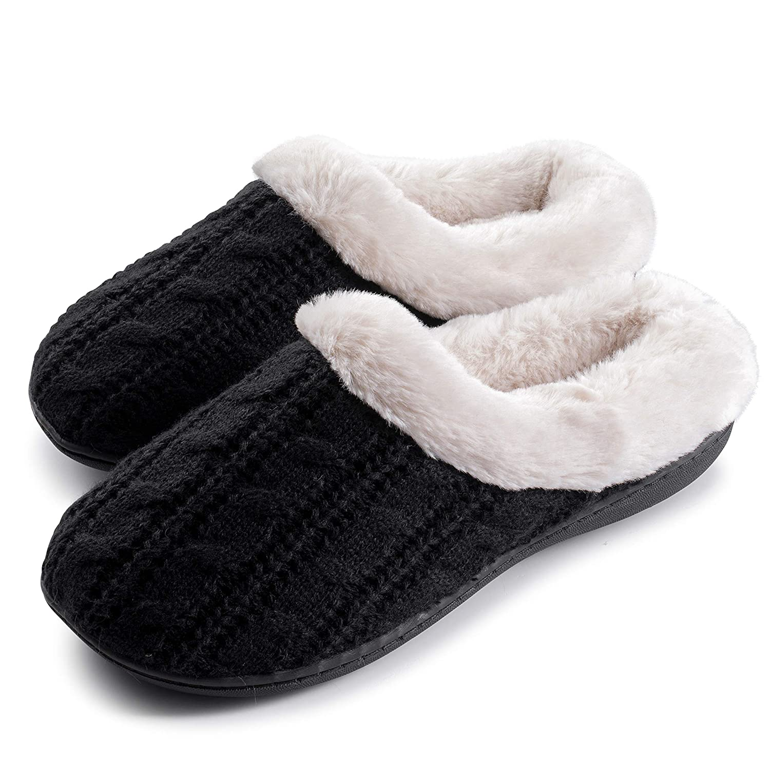 d314dc991da Roxoni Women's Cabled Knit Sweater Clog Winter Bedroom Slippers Super Cozy  and Comfort
